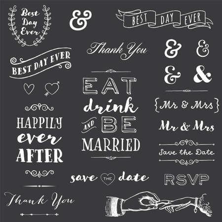 칠판 결혼식 타이포그래피 - 분필 결혼 타이포그래피 메시지 및 그래픽의 컬렉션 일러스트