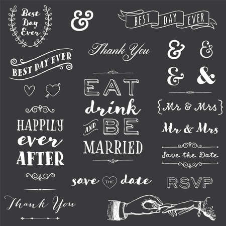 chalkboard wedding typography - collection of chalk wedding typography messages and graphics Zdjęcie Seryjne - 46975786