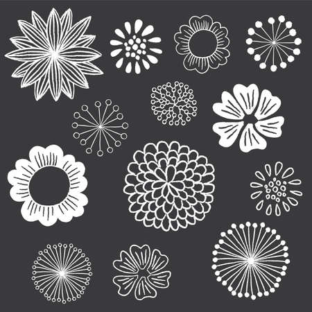 Chalkboard Floral Elements Set - Set of hand-drawn chalkboard floral design elements