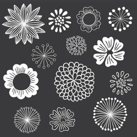 Chalkboard Floral Elements Set - Set of hand-drawn chalkboard floral design elements Stok Fotoğraf - 46952882