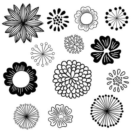 Floral Elements Set - Set of hand-drawn floral design elements in black on a white background Çizim