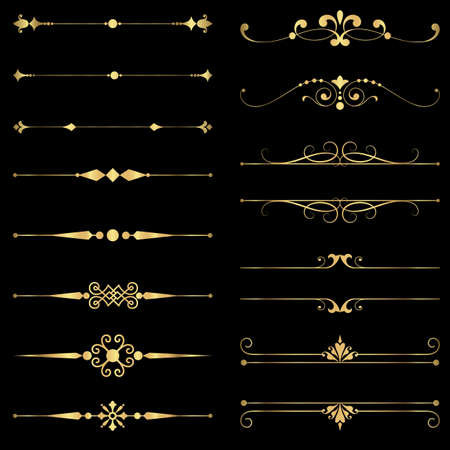 Gold Rule Lines and Ornaments - Set of vector text dividers and frame in gold.  File is layered, and each element is grouped separately for easy editing.  Colors are just a few global swatches, so elements can be recolored easily. Illustration