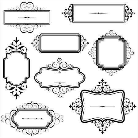 vintage: Frames do vintage com Scrolls - Jogo de frames do vintage com elementos do rolo. Cada elemento é agrupado individualmente. Ilustração