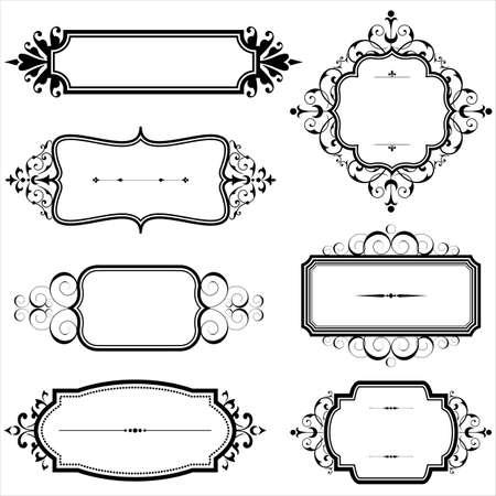 vid: Marcos de la vendimia con las volutas - Conjunto de marcos vintage con elementos del desfile. Cada elemento se agrupa de forma individual.