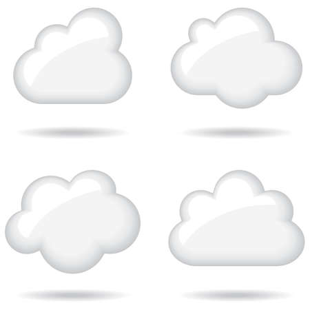 Glossy White Clouds - Set of 4 glossy white cloud icons.  Created with simple 3-step blends.  File is well layered, and each cloud is grouped separately for easy editing.