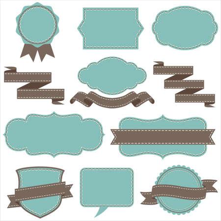 빈티지 프레임 및 배너 세트 - 각 객체를 개별적으로 그룹화됩니다. 스티치 브러쉬는 브러쉬 창에 포함되어 있습니다. 색상이 쉬운 편집을위한 글로벌
