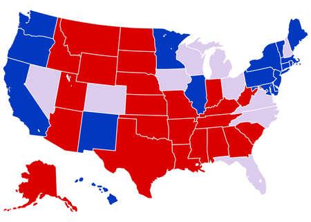 미국 선거지도 - 예상 된 선거 상태와 미국지도 벡터 일러스트 레이 션. 각 상태는 쉽게 편집 할 수있는 별도의 획이있는 모양으로 그룹화됩니다.