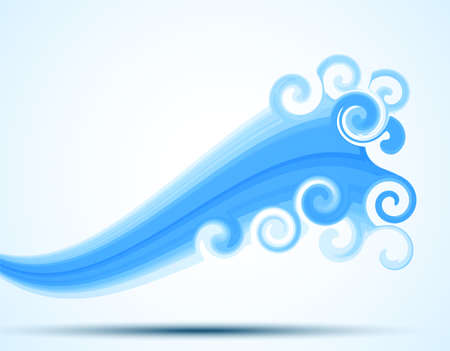 Wave Graphic - Vector wave illustration.  Wave is behind a clipping mask.  Colors are global for easy editing.