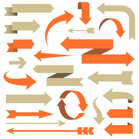 flecha: Arrow Set - Conjunto de diseños de flechas en diferentes estilos. Cada elemento está agrupada para facilitar la edición. Los colores son muestras globales.