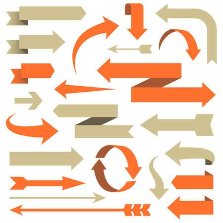 Arrow Set - Set di freccia disegni in diversi stili. Ogni elemento è raggruppato per facilitare il montaggio. I colori sono i campioni globali. Archivio Fotografico - 47684636