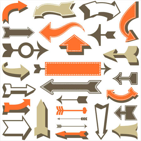 arrows vector: Retro Arrow Set - Set of retro arrow designs.  Each element is grouped for easy editing.  Colors are global swatches.