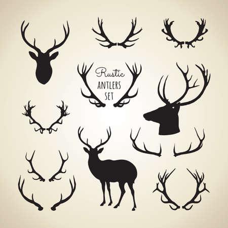 cuernos: Rústico Antlers Set