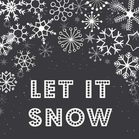 Christmas Snowflakes Background - Chalkboard texture Illustration