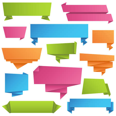 Origami Banners Set - Colorful origami banners set.  Each color is just a few global swatches, so banners can be recolored easily.  All elements are grouped separately for easy editing. Illustration