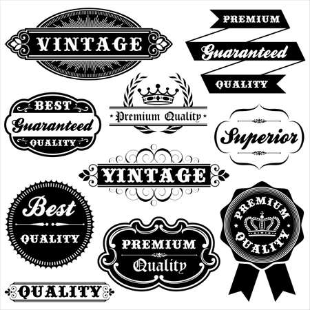 Vintage Label Set - Set of vintage labels and frames.  Each label is grouped. Çizim