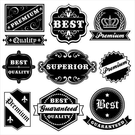 cartouche: Vintage Label Set - Set of vintage labels and frames.  Each label is grouped. Illustration