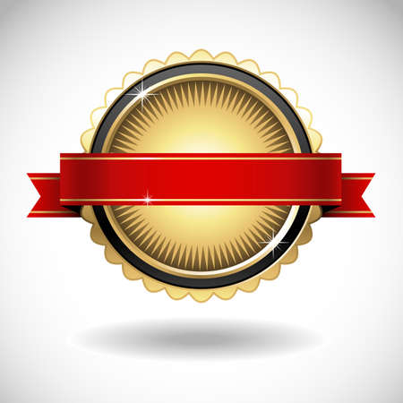 red banner: Shiny Gold Seal with Red Banner - Shiny gold emblem with red banner. Colors are global swatches, so they can be modified easily.