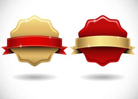 wax glossy: Shiny Gold and Red Wax Seals with Banner - Shiny gold and red wax seals with banners.  Colors are global swatches, so they can be modified easily.