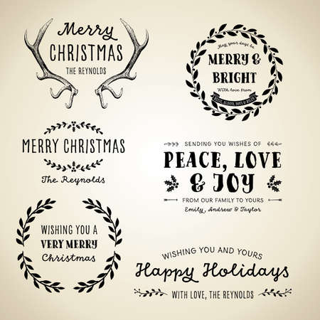 빈티지 크리스마스 디자인 - 빈티지 크리스마스 디자인, 라벨 및 프레임 세트 일러스트