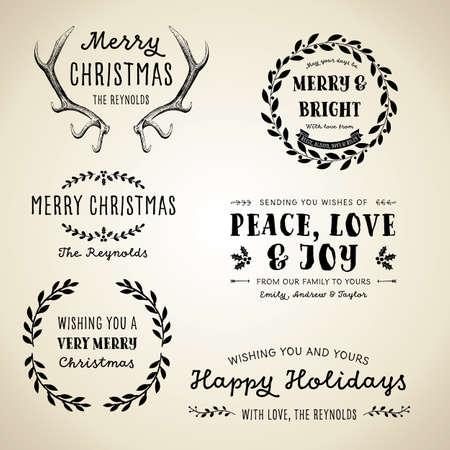 Weinlese-Weihnachten Designs - Set Vintage Christmas-Motiven, Etiketten und Frames Standard-Bild - 48638203