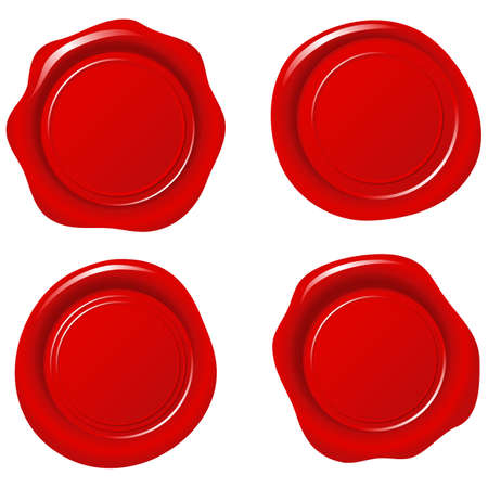 Shiny Red Wax Seals - Set of 4 seals.  Colors are global, so they can be modified easily.  Each element is grouped separately. Vettoriali