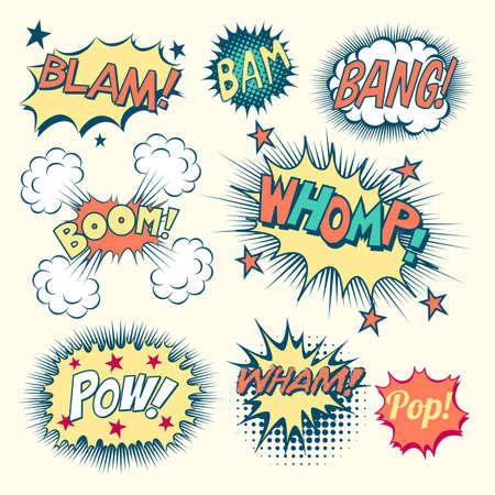 sonido: Efectos sonoros cómicos libro - Colección de burbujas de discurso de cómics clásicos y efectos de sonido. Cada objeto se agrupa de forma individual y los colores son muestras globales.
