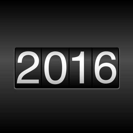 2016 Odometer van het Nieuwjaar - New Year design met witte cijfers 2016 op zwarte achtergrond. Stock Illustratie