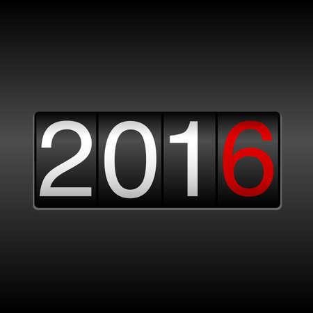 2016 Odometer van het Nieuwjaar - zwart en rood; Nieuwjaar ontwerp met witte en rode cijfers 2016 op zwarte achtergrond.