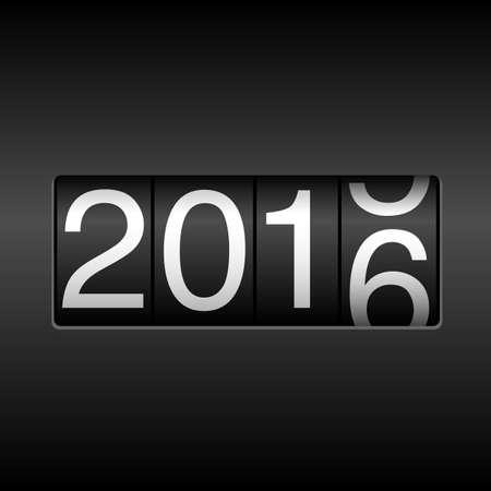 2016 Odometer van het Nieuwjaar met Rolling Number - Nieuwjaar design met witte cijfers rollen 2015-2016, op een zwarte achtergrond.