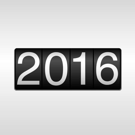 2016 Odometer van het Nieuwjaar - White; New Year 2016 design - kilometerteller met nummers 2016 op een witte achtergrond. Stock Illustratie