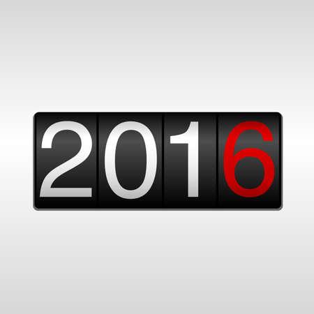 2016 Odometer van het Nieuwjaar - Wit en rood; New Year 2016 design - kilometerteller met witte en rode cijfers 2016 op een witte achtergrond.