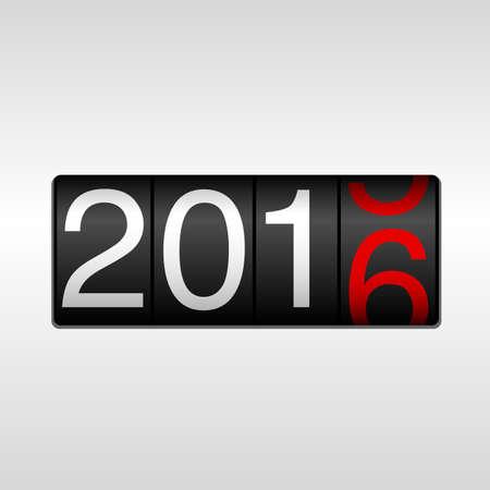 2016 Odometer van het Nieuwjaar - Wit en rood; New Year 2016 design - kilometerteller met witte en rode cijfers rolling 2015-2016, op een witte achtergrond. Stock Illustratie