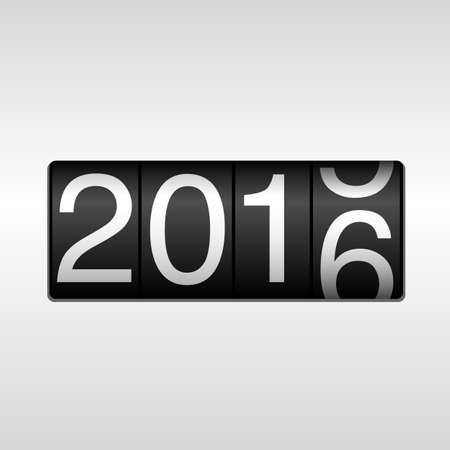 2016 New Year Odometer with Rolling Number: New Year 2016 design - odometer with white numbers rolling from 2015 to 2016, on white background.