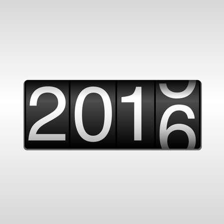 2016 Odometer van het Nieuwjaar met Rolling Number: New Year 2016 design - kilometerteller met witte nummers rollen 2015-2016, op een witte achtergrond.