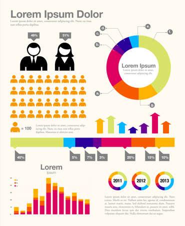 Infographic Design - Infographic sjabloonontwerp en ontwerpelementen. Elk object is gegroepeerd en kleuren zijn globaal. Stock Illustratie