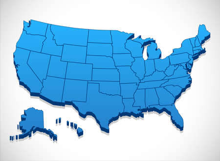 map of the united states: United States of America Map - 3D illustration of United States map.