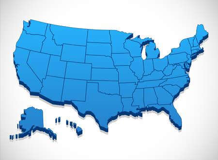 spojené státy americké: United States of America mapa - 3D ilustrace Spojených států mapy. Ilustrace