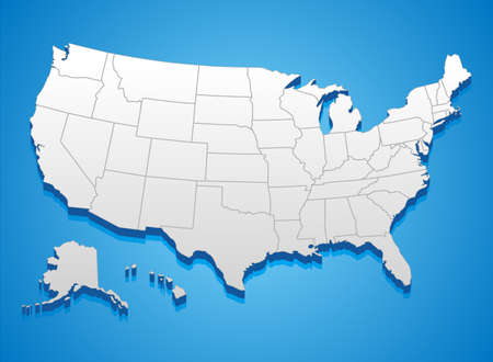 us map: United States of America Map - 3D illustration of United States map.
