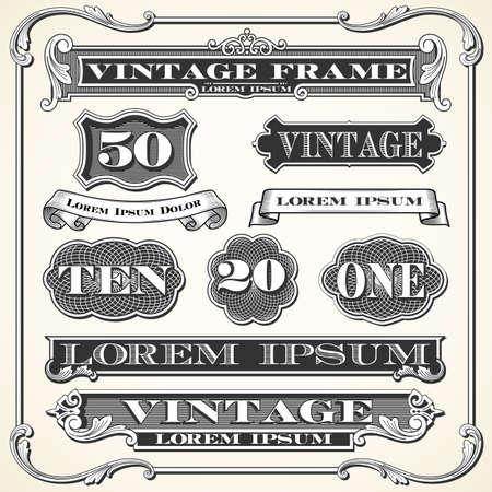 Vintage etiquetas, marcos y adornos - conjunto de adornos y cuadros de época. Cada objeto se agrupa y los colores son globales para facilitar la edición.
