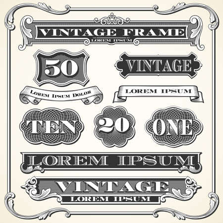 dingbat: Vintage Labels, Frames and Ornaments - Set of vintage ornaments and frames.  Each object is grouped and colors are global for easy editing. Illustration