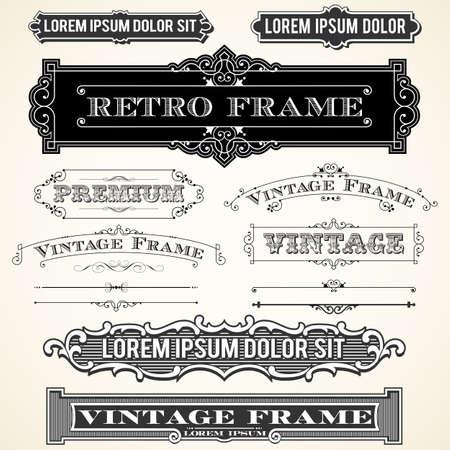Vintage etiquetas y adornos - conjunto de adornos y marcos. Cada objeto se agrupa y los colores son globales para facilitar la edición.