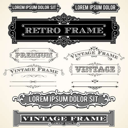 rule line: Vintage Labels and Ornaments - Set of ornaments and frames.  Each object is grouped and colors are global for easy editing. Illustration