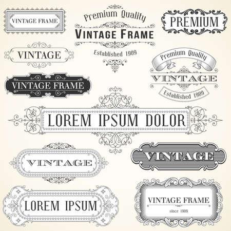 Etiquetas y adornos vintage - Conjunto de adornos y marcos. Cada objeto está agrupado y los colores son globales para facilitar la edición. Ilustración de vector