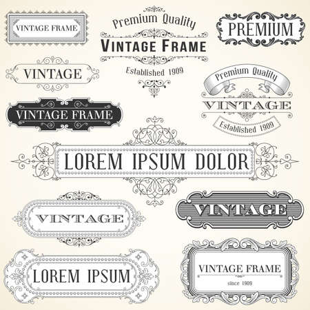 vintage scroll: Vintage Labels and Ornaments - Set of ornaments and frames.  Each object is grouped and colors are global for easy editing. Illustration
