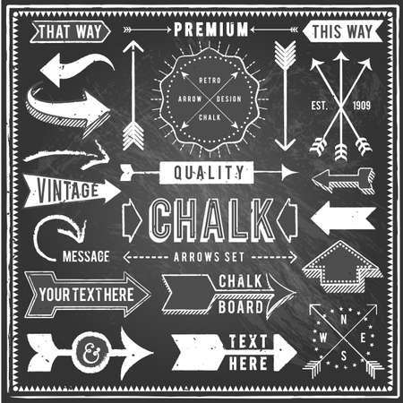 dingbat: Vintage Chalkboard Arrows - Set of vintage arrows and banners. Each object is grouped and file is layered for easy editing. Textures can be removed.