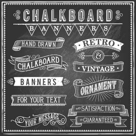 Vintage Chalkboard Banners - Set of vintage banners and ornaments. Each object is grouped and file is layered for easy editing. Textures can be removed.