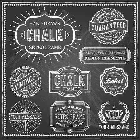 Vintage Chalkboard Frames - Set of vintage frames and banners. Each object is grouped and file is layered for easy editing. Textures can be removed.