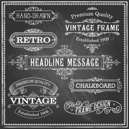 chalk drawing: Vintage Chalkboard Frames - Set of vintage frames and banners. Each object is grouped and file is layered for easy editing. Textures can be removed.