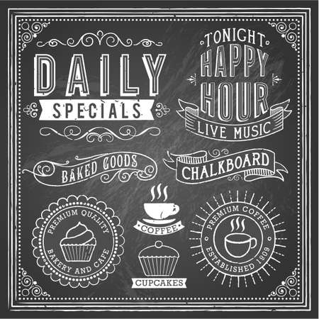 dingbat: Vintage Chalkboard Ornaments - Set of chalkboard ornaments and banners. Each object is grouped and file is layered for easy editing. Textures can be removed. Illustration