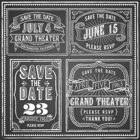 rule line: Vintage Chalkboard Backgrounds - Set of 4 Vintage chalkboard backgrounds with retro elements. Each object is grouped and colors are global for easy editing.